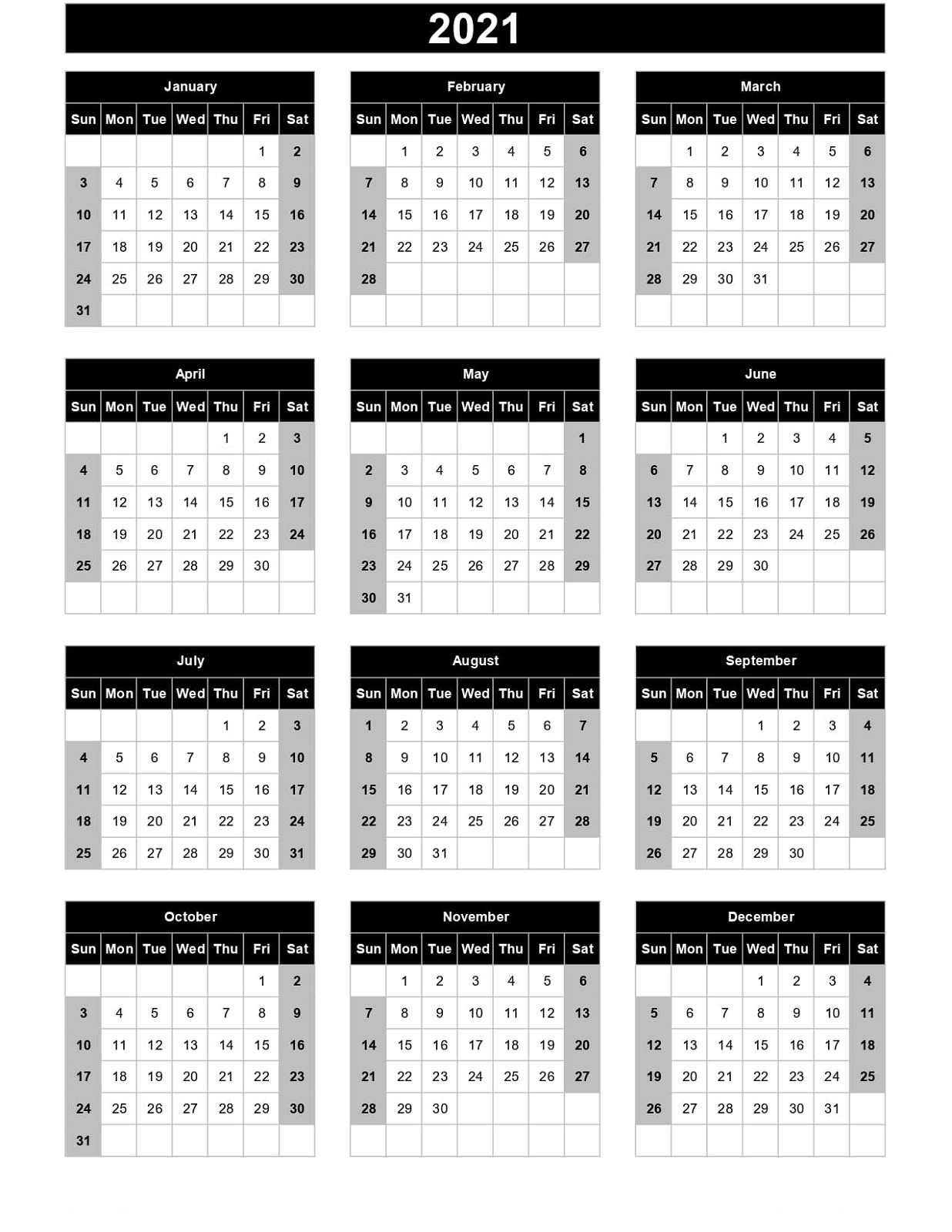 Yearly Calendar 2021 Printable Template