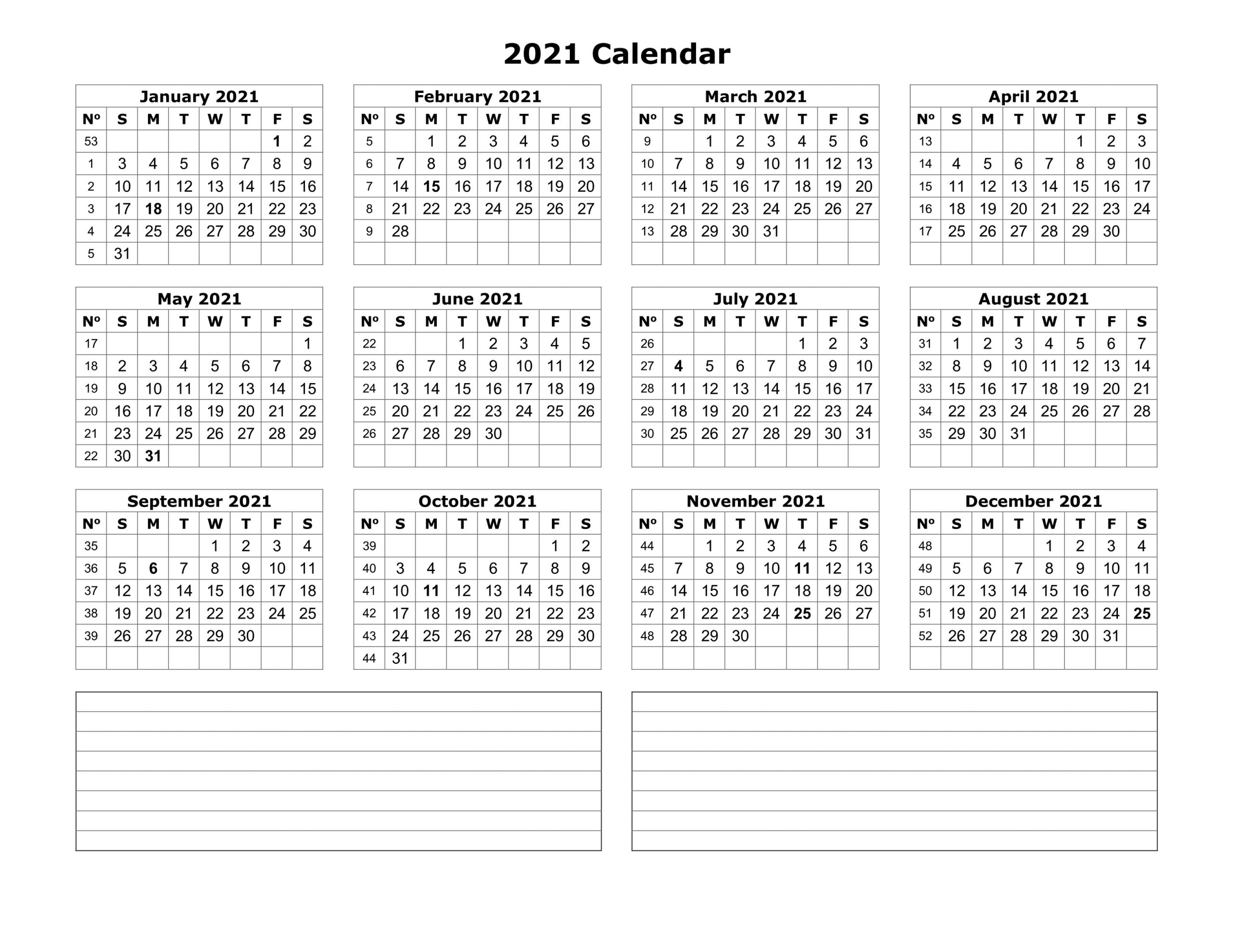 Yearly Calendar 2021 Printable with Holiday