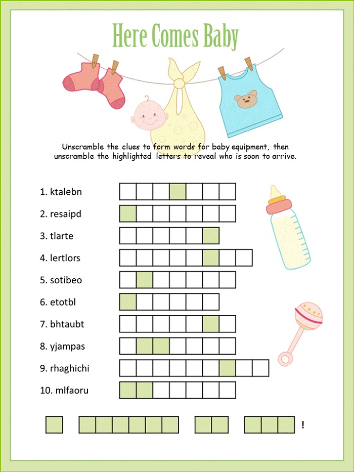 Baby Shower Word Scramble Puzzle