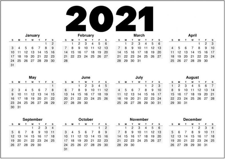 Black and White Calendar 2021 Printable
