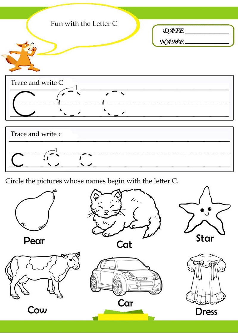 Coloring And Trace Letter C