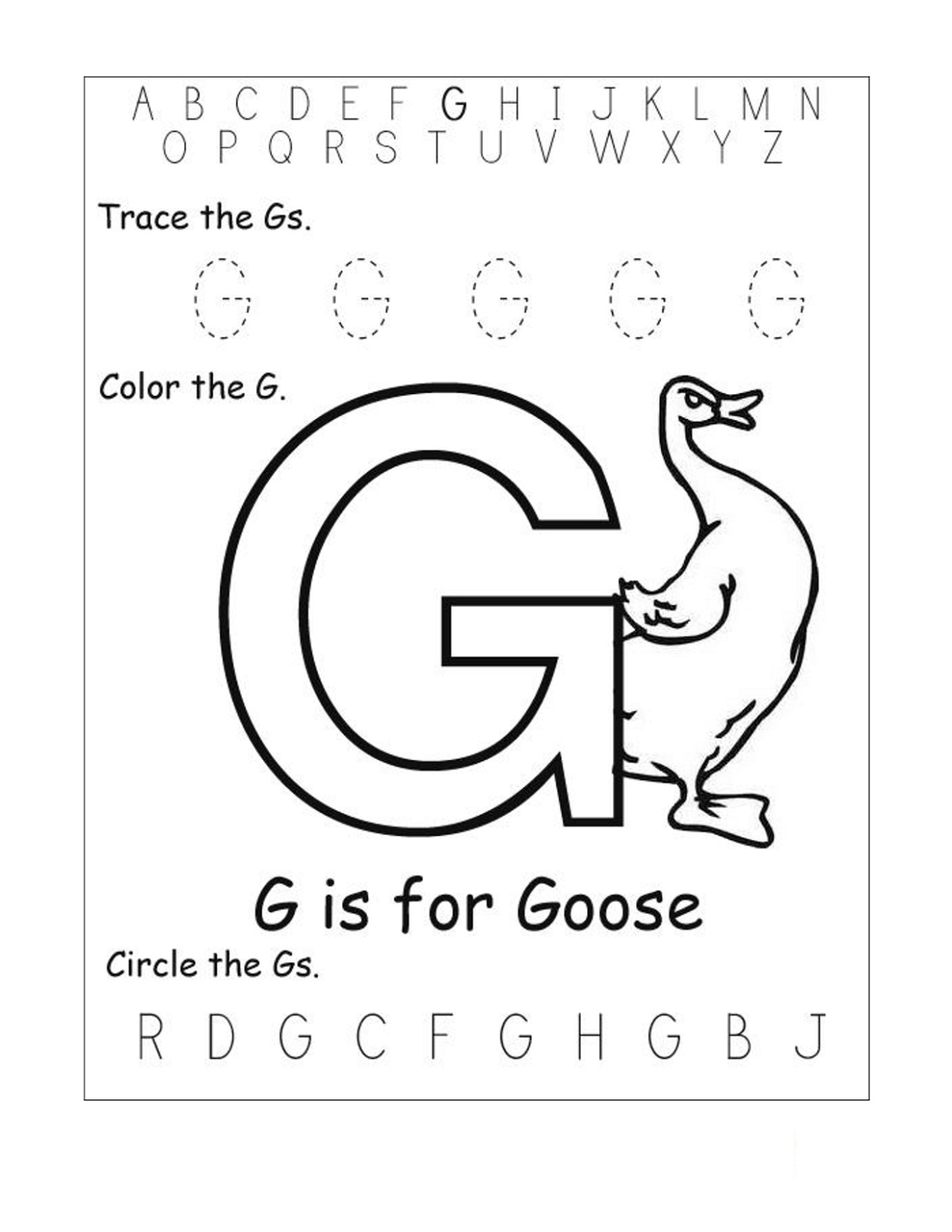 Coloring Trace Letter G
