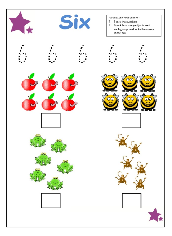 Counting Number 6 Worksheets