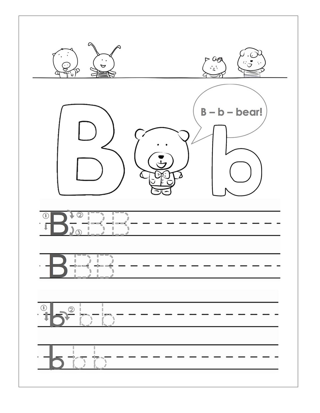Cute Trace Letter B
