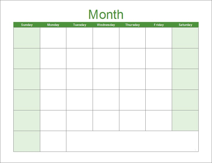 Free Blank Calendar Pages 2021