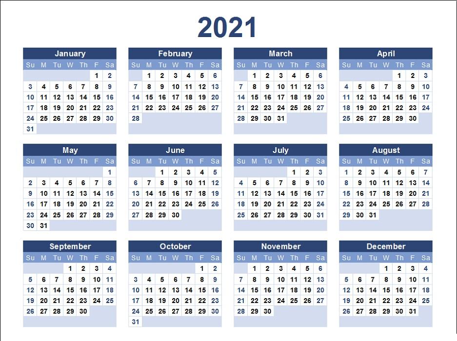 Free Calendar 2021 Printable
