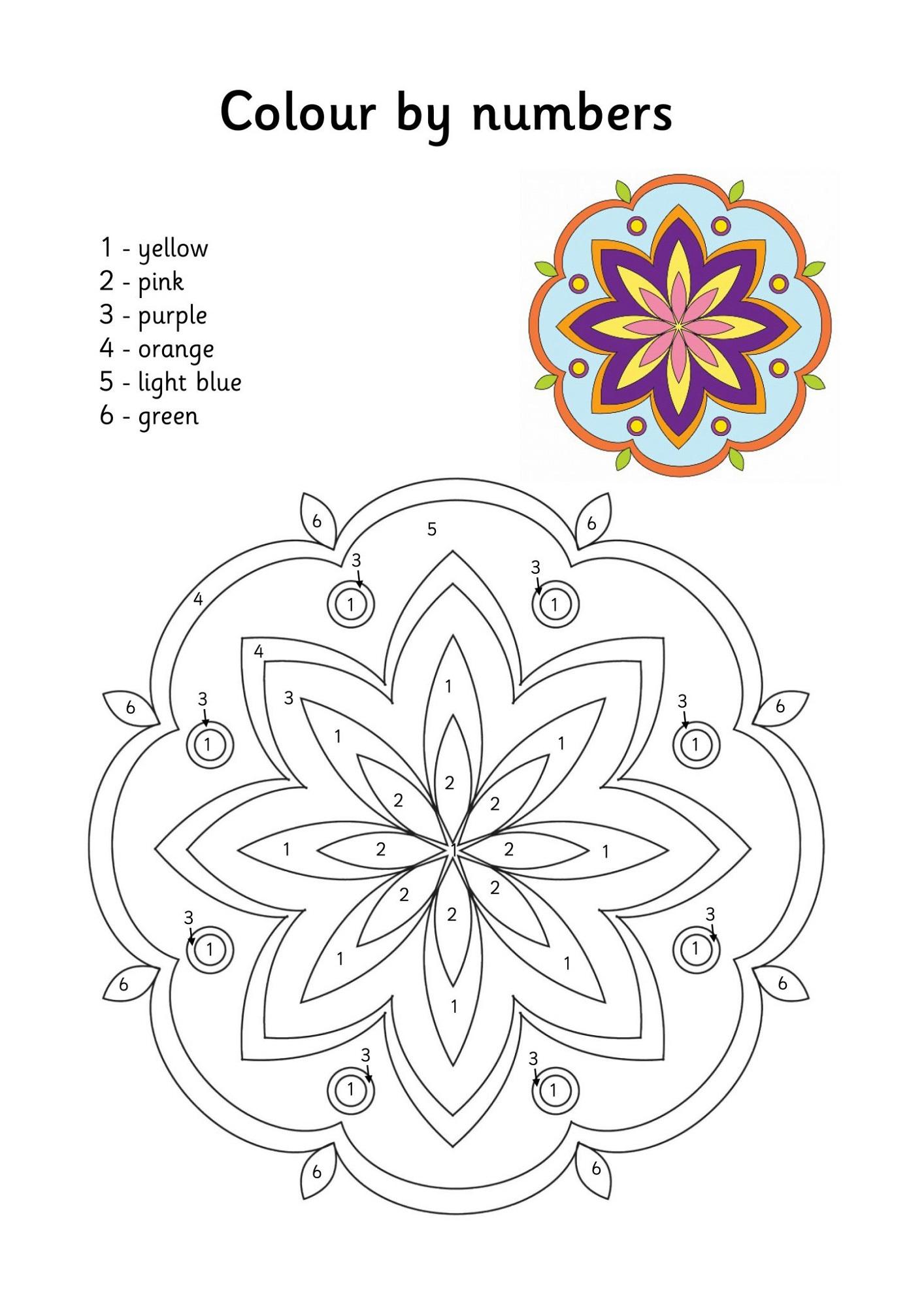 Free Color By Numbers Worksheet