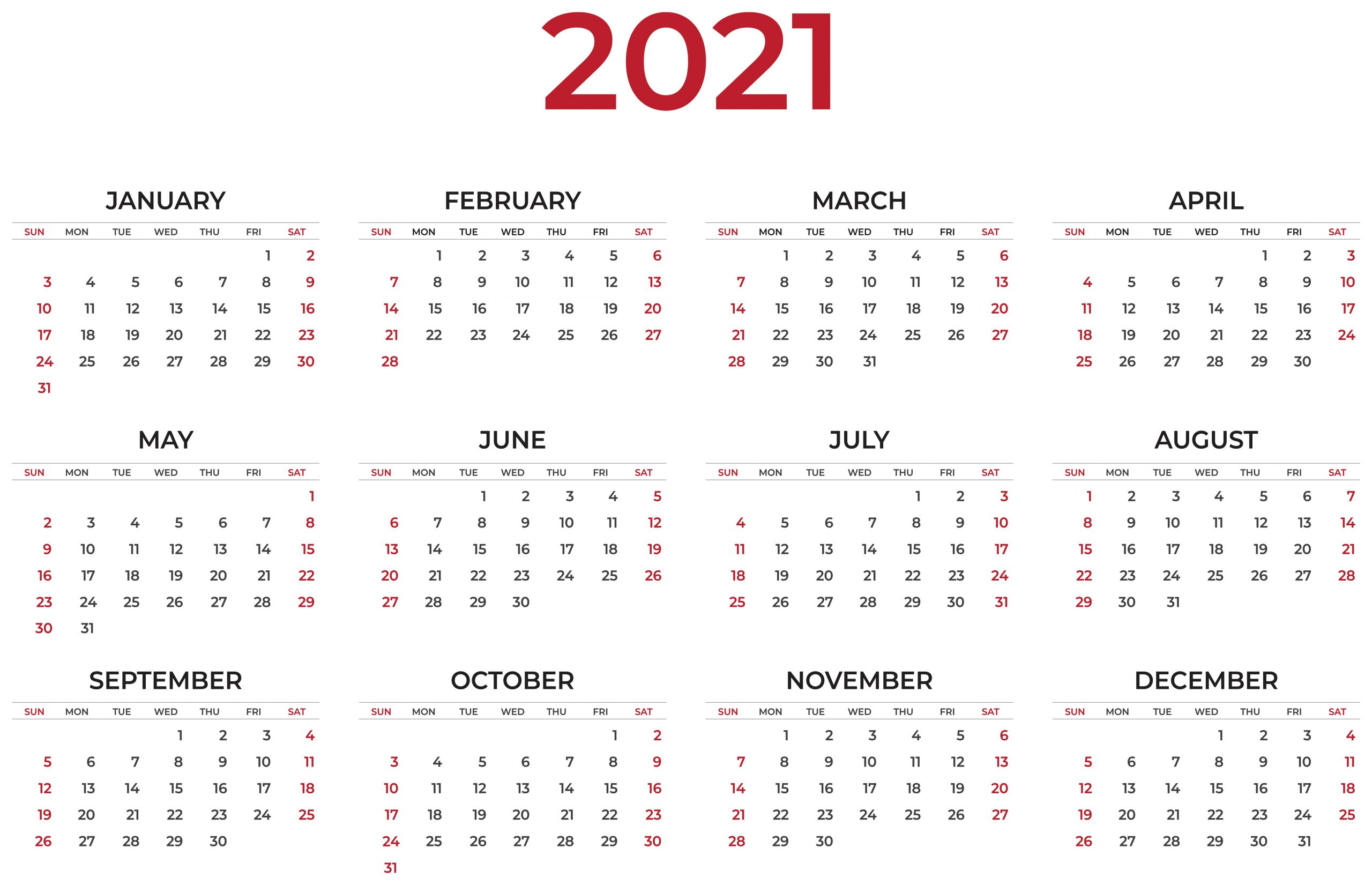 Free Printable Calendars 2021 Clipart