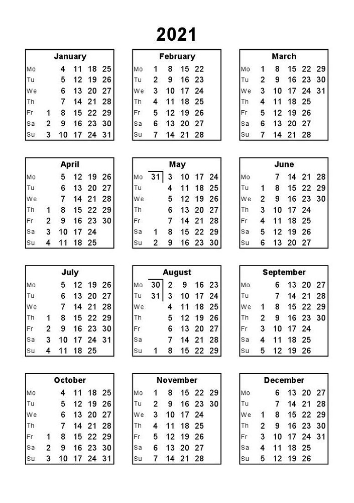 Free Printable Calendars 2021 Full Page