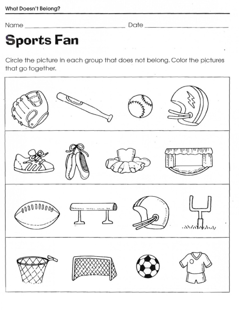 Free Sports Worksheets For Kids