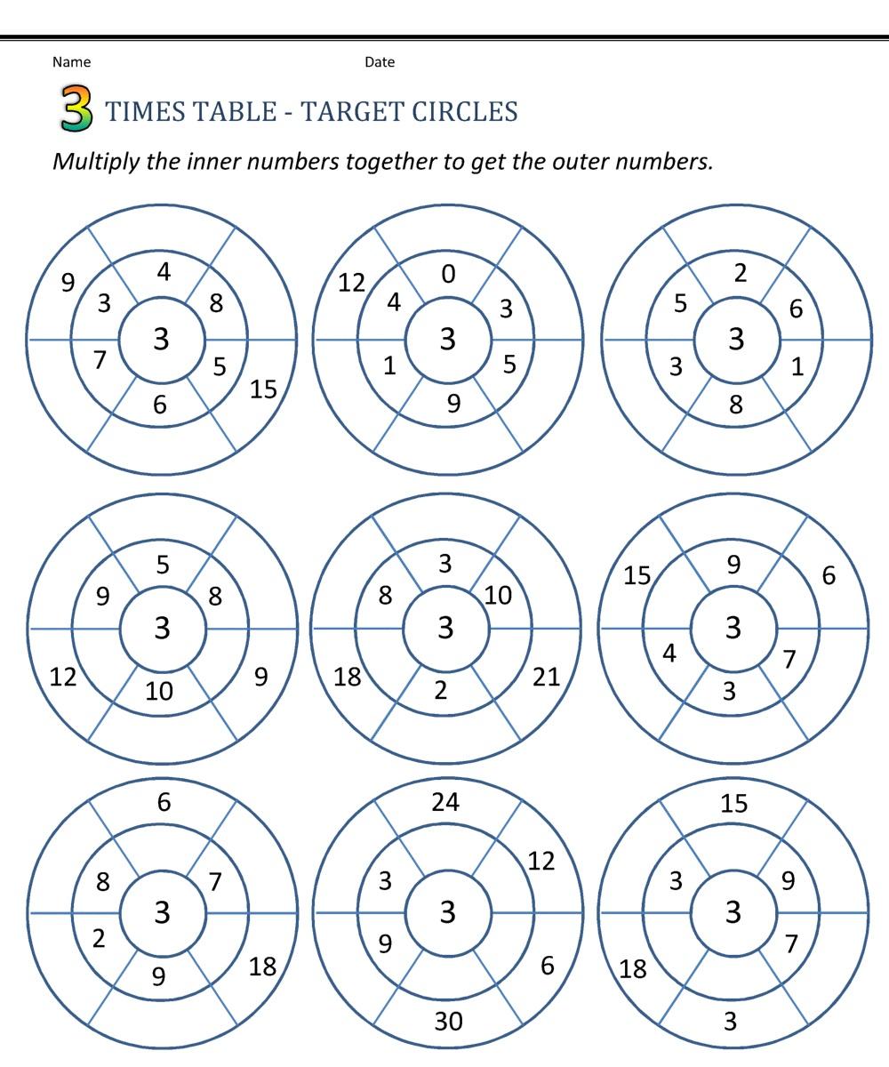 Fun 3 Times Tables Worksheet