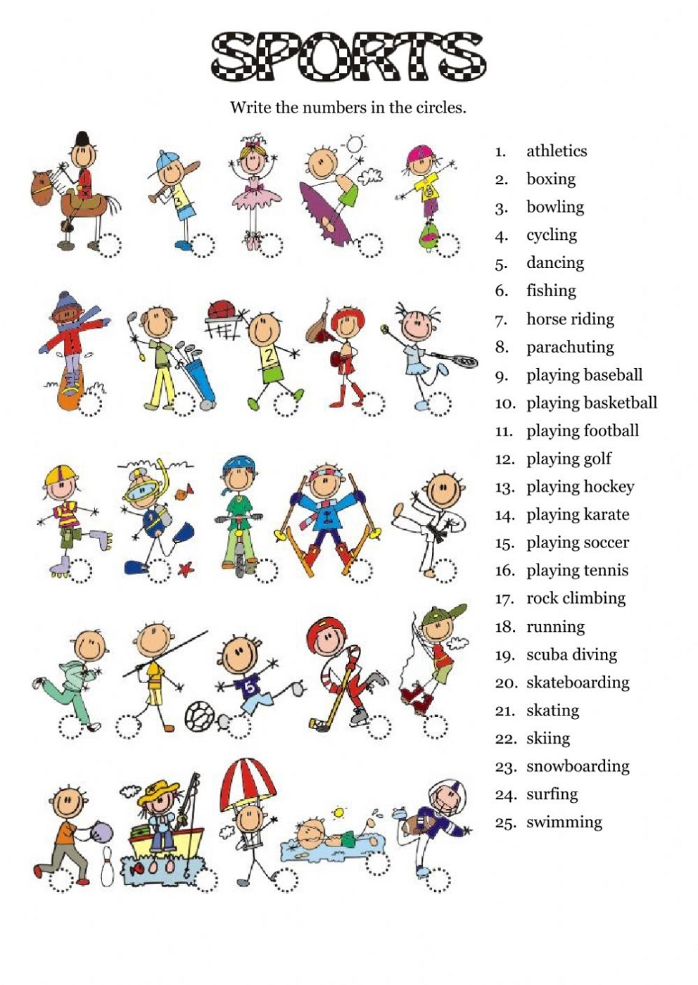 Fun Sports Worksheets For Kids