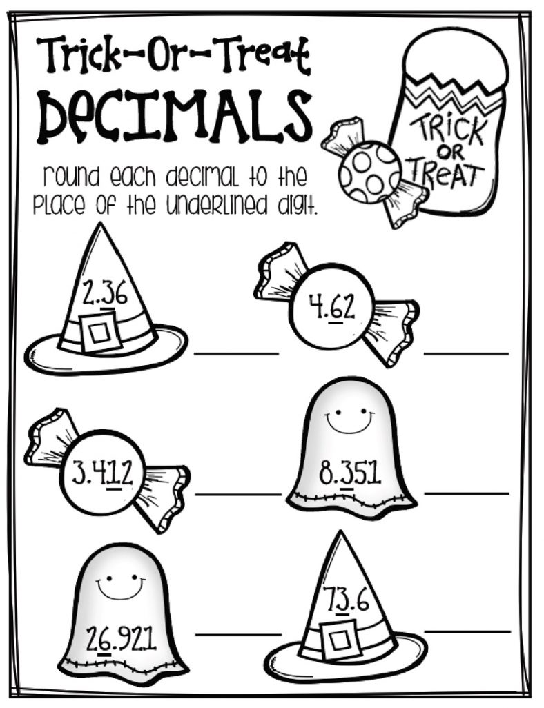 Halloween Fun Decimal Worksheets