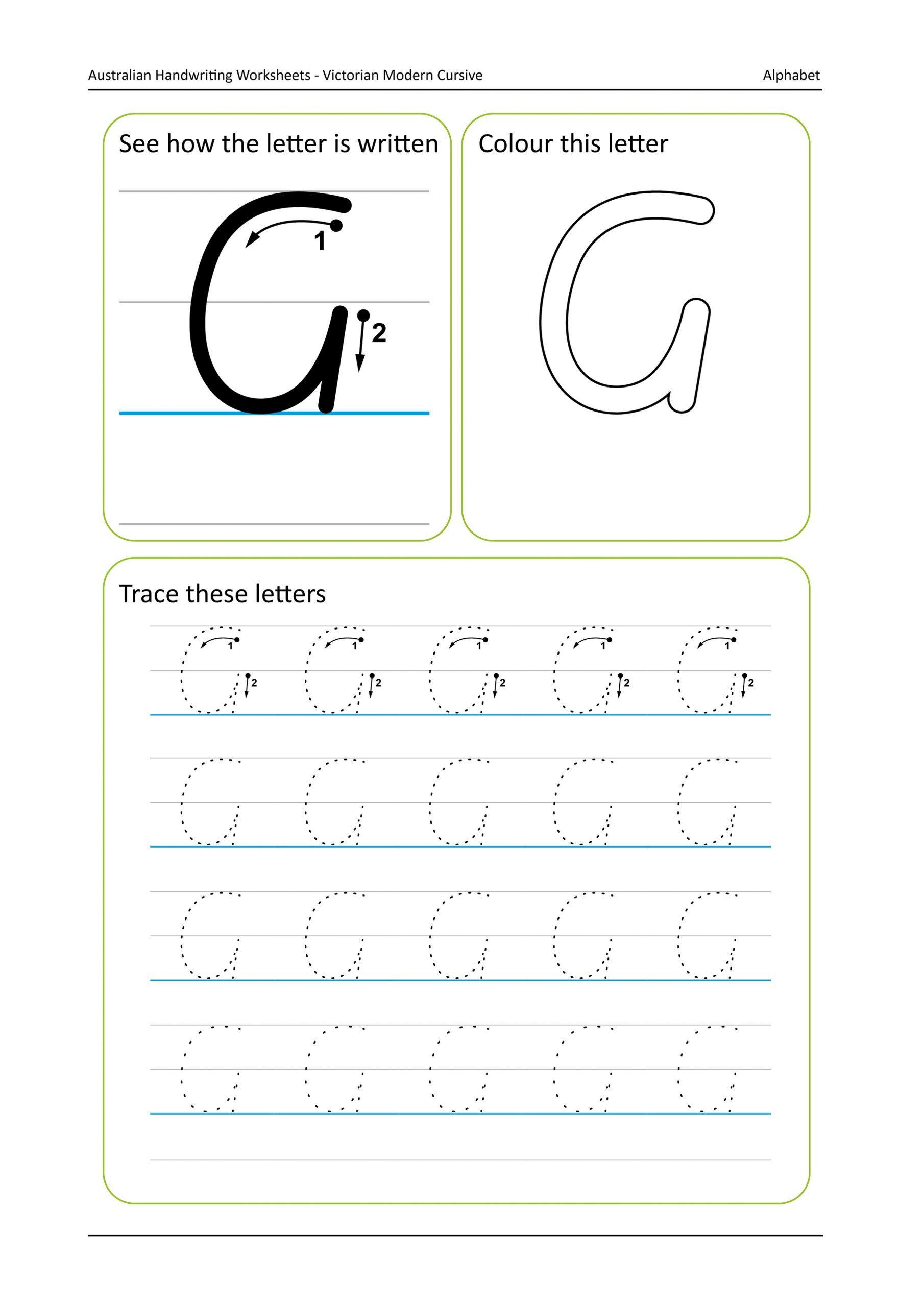 Handwriting Trace Letter G
