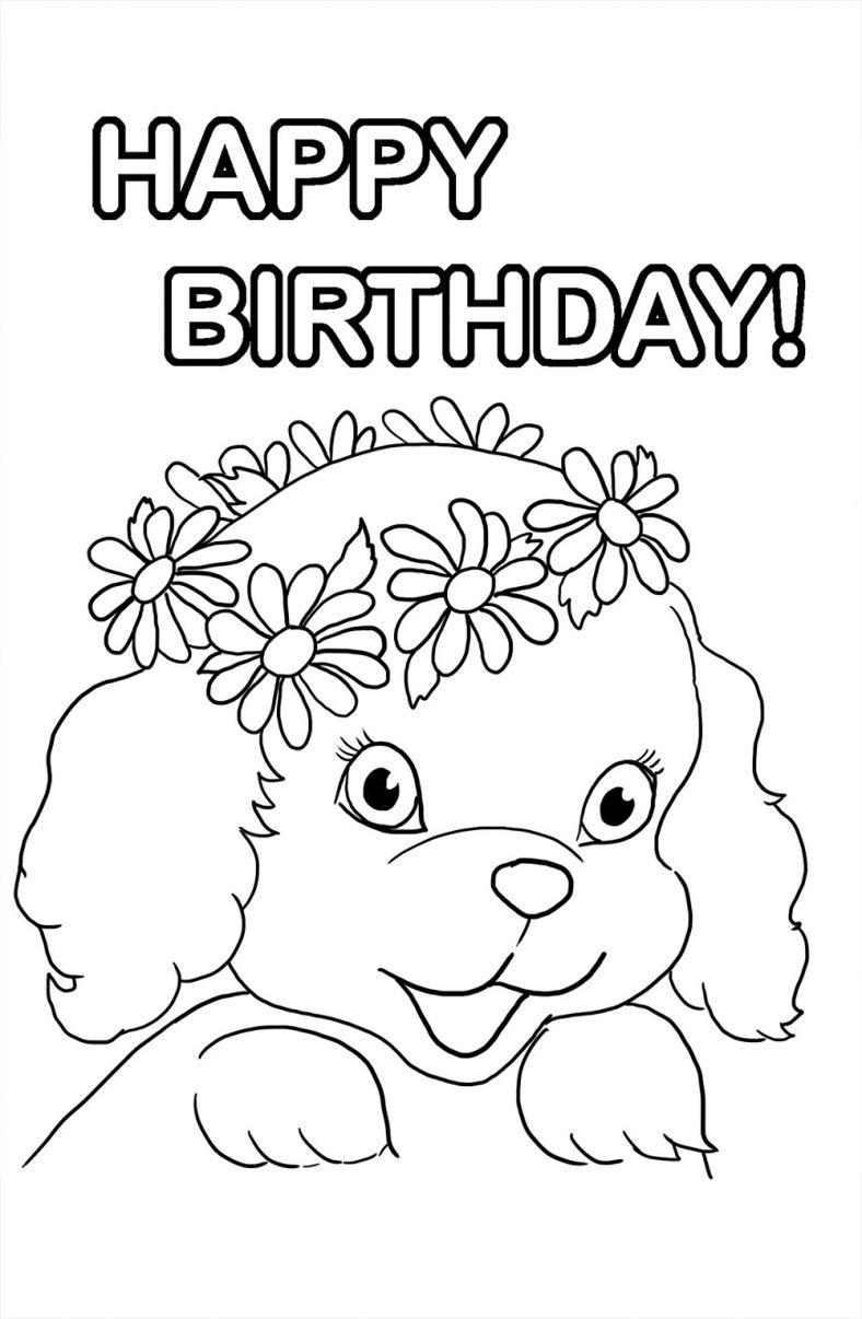 Happy Birthday Color Page Clipart