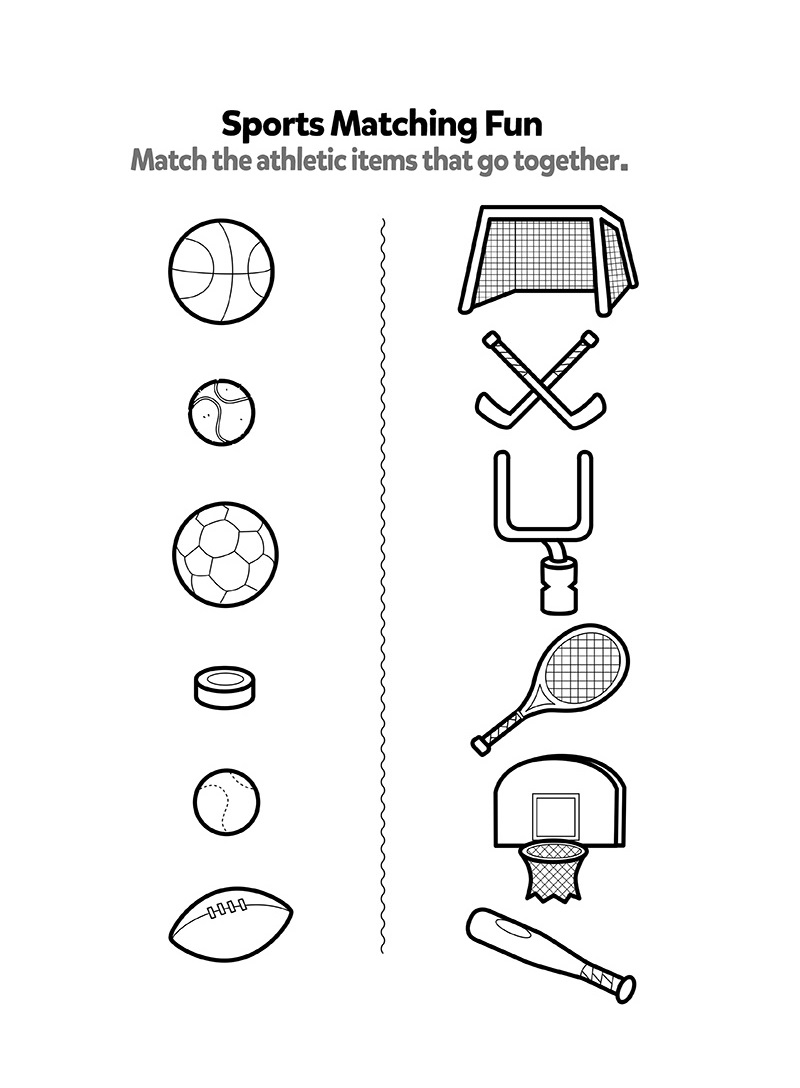 Matching Sports Worksheets For Kids