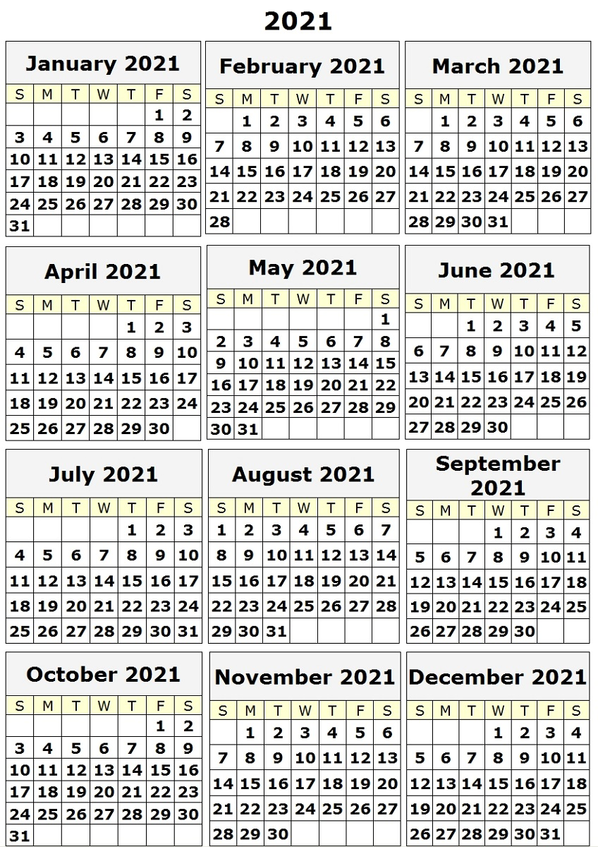 Monthly Free Printable Calendars 2021