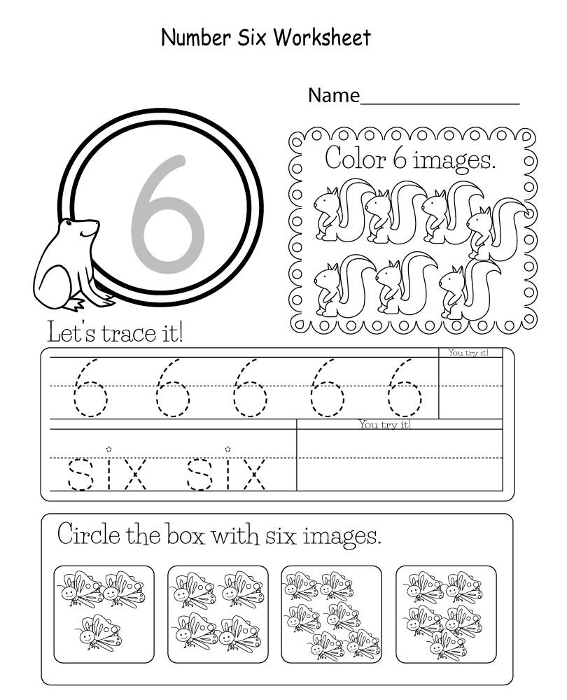 Number 6 Worksheets for Kindergarten