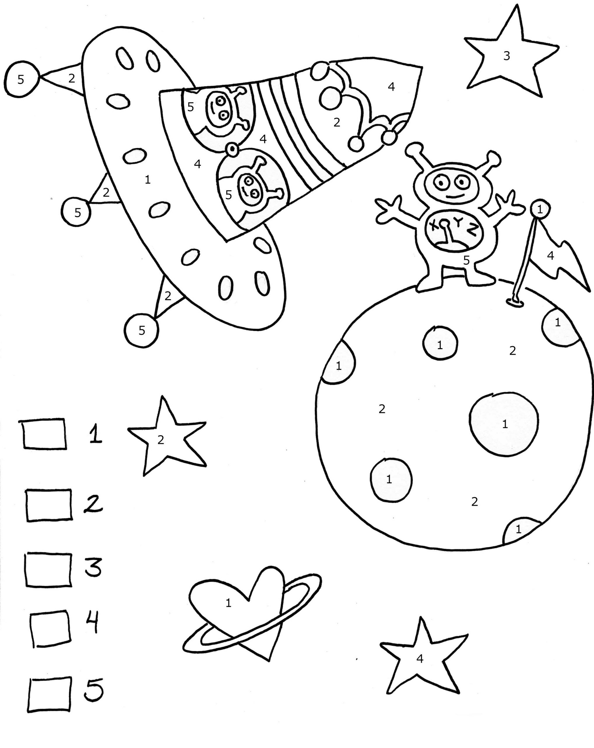 Outer Space Color By Numbers Worksheet
