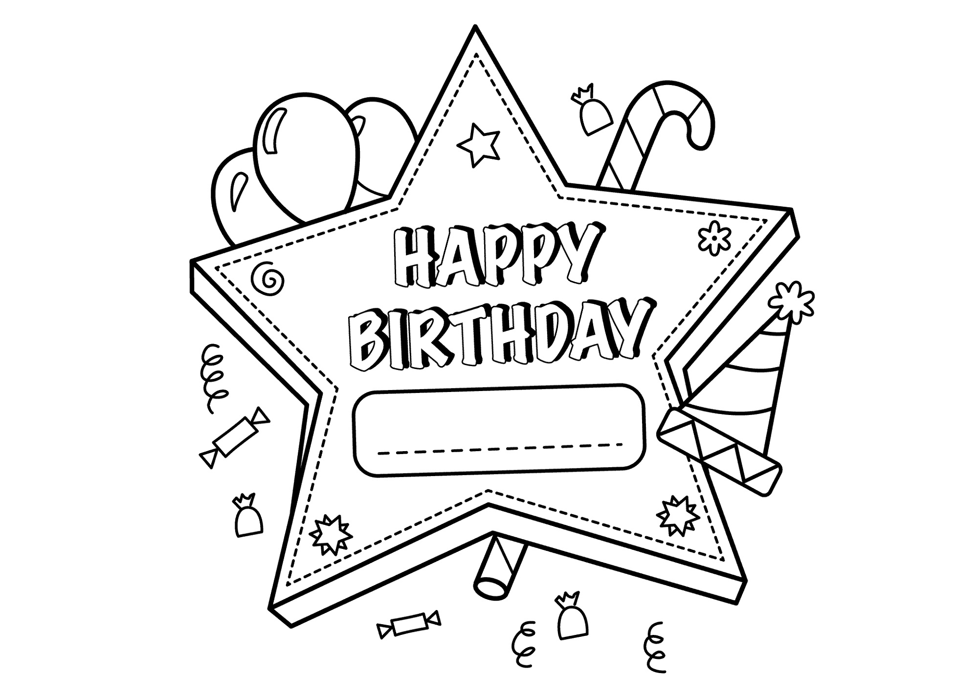 Printable Happy Birthday Color Page