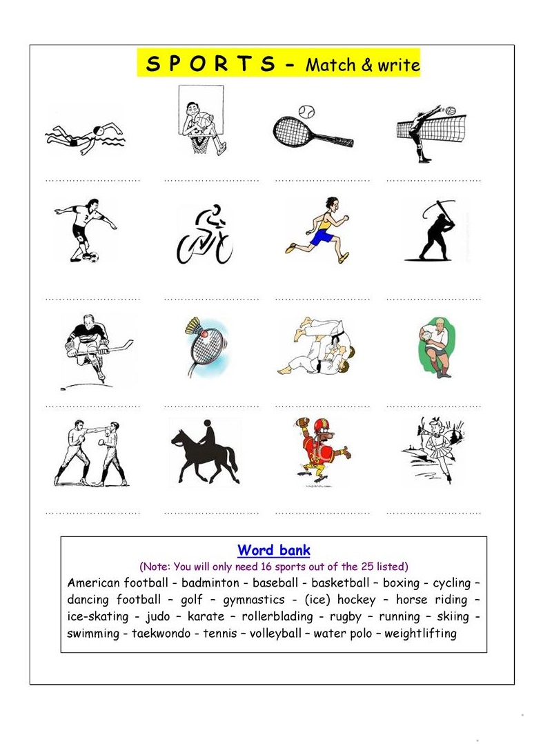 Printable Sports Worksheets For Kids