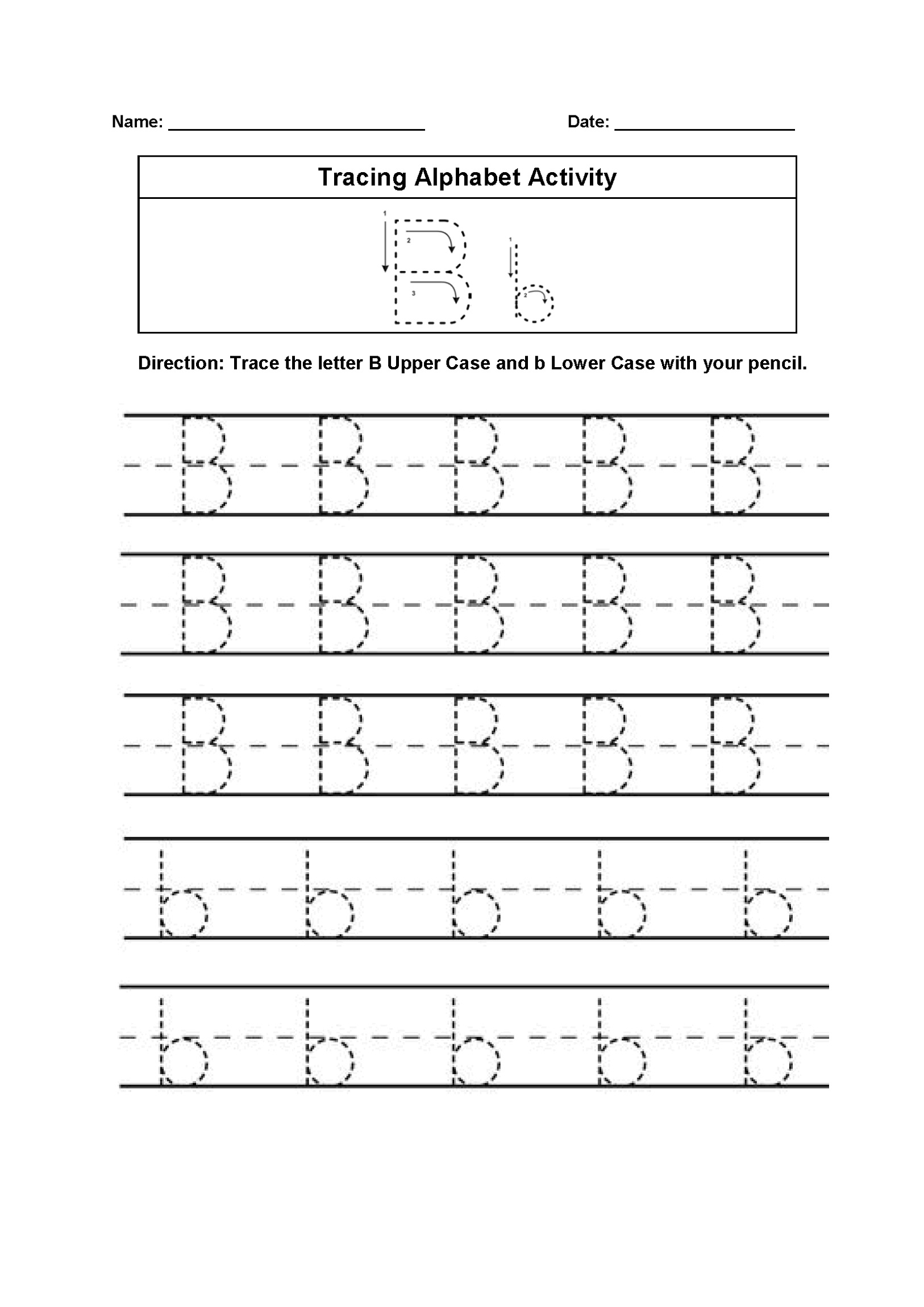 Trace Letter B Worksheet