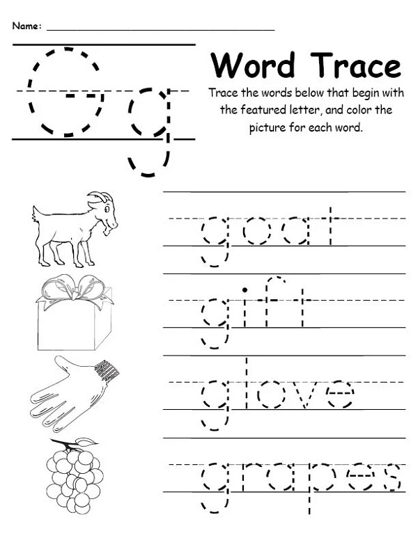 Trace Letter G Words