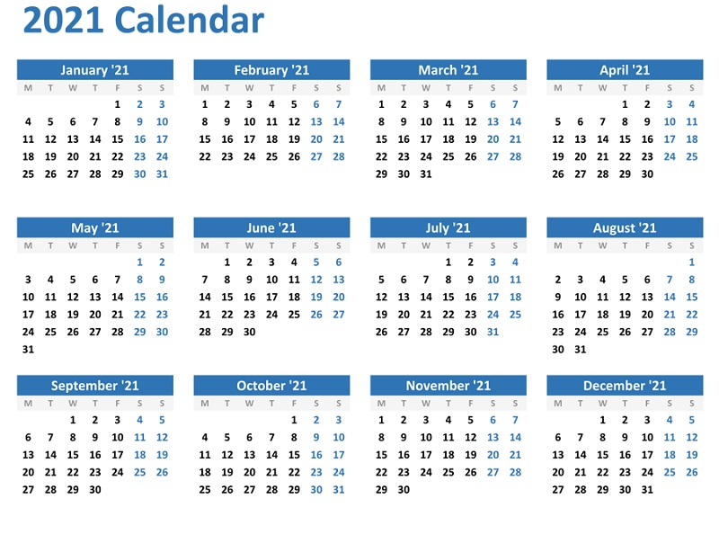 Yearly Free Printable Calendars 2021