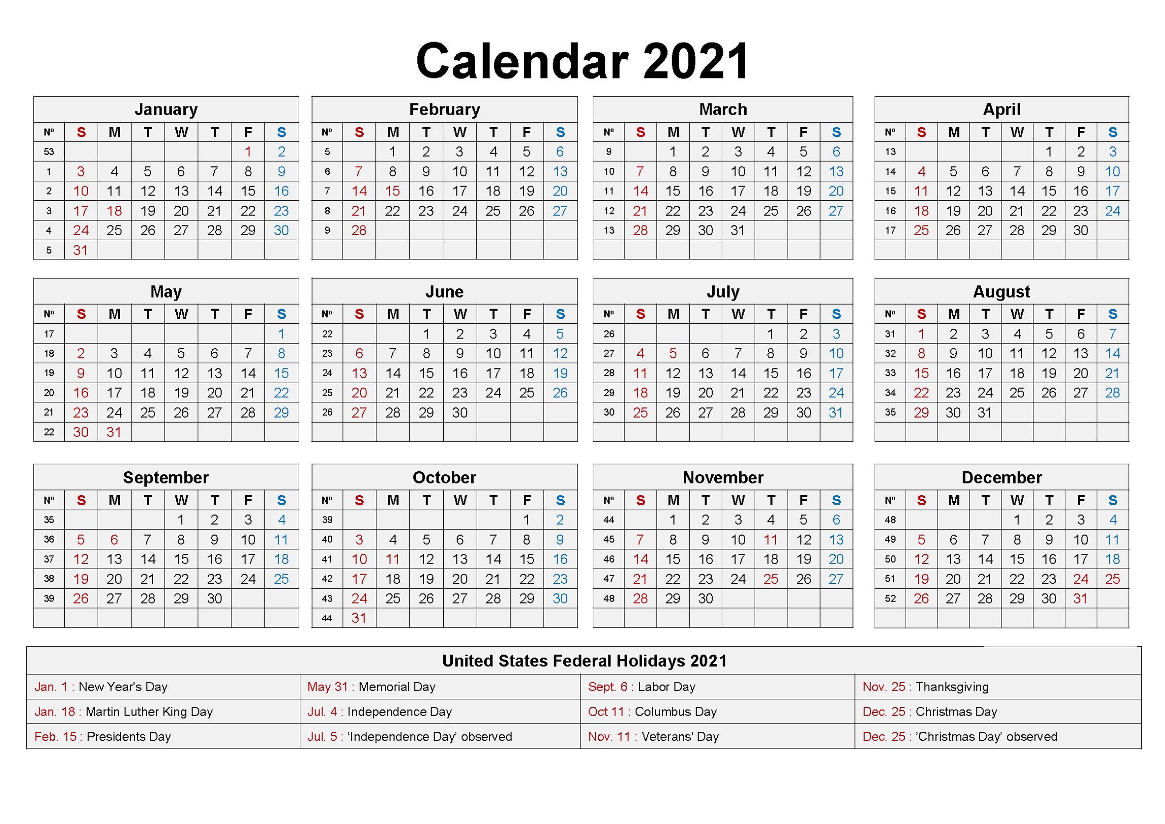 2021 Calendar Printable with Holiday