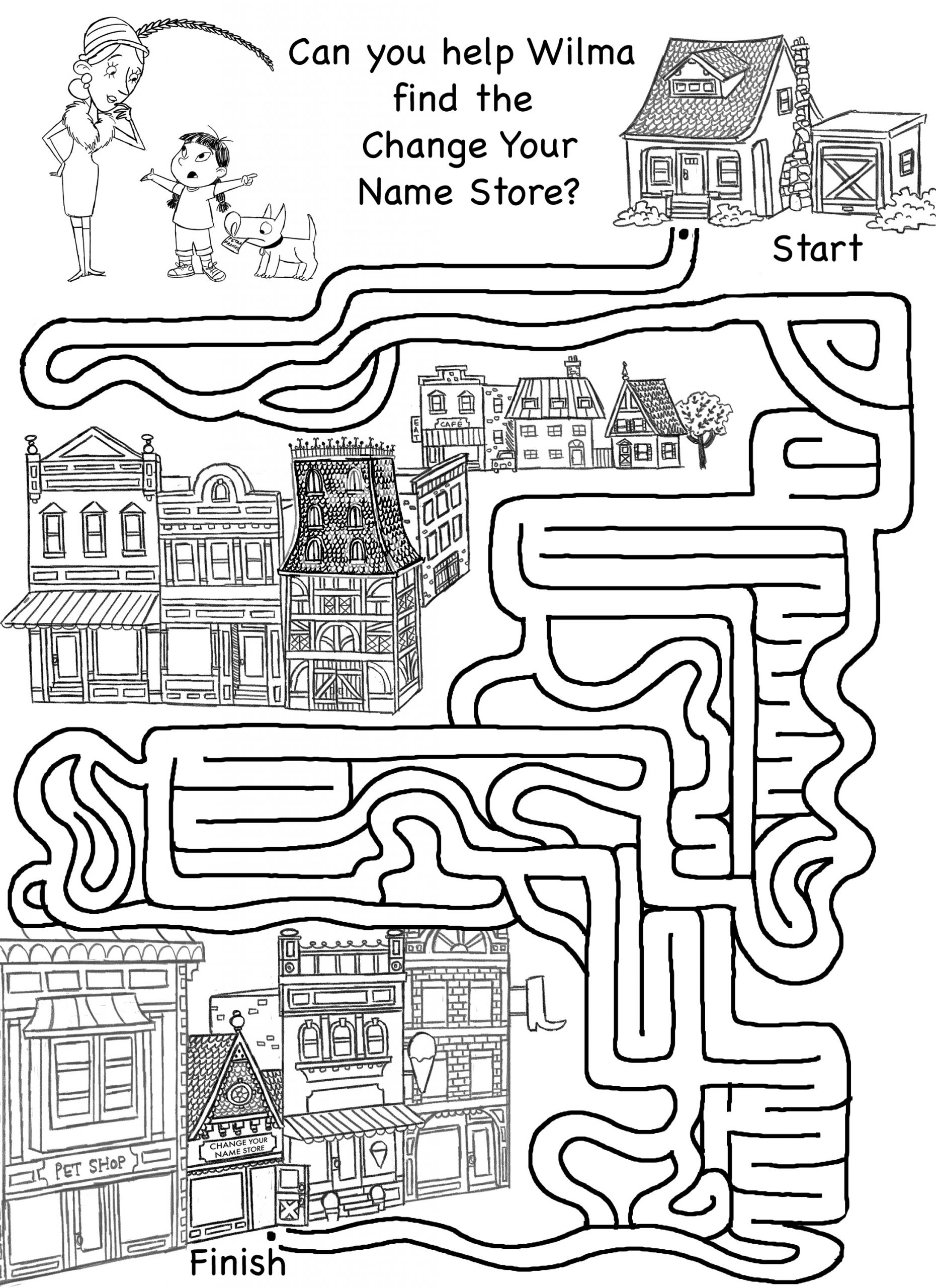 Activity Sheet for Kids Change Name Store Maze