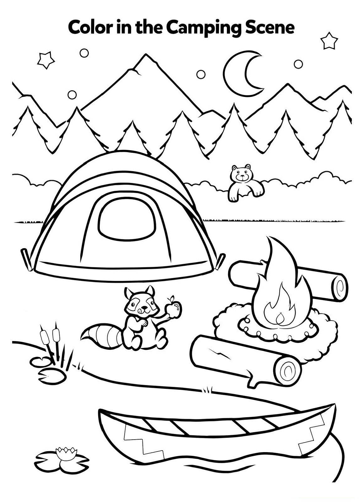 Activity Sheet for Kids Coloring the Camping Scene