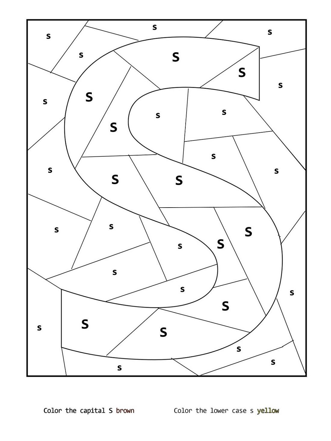 Coloring Letter S Worksheets