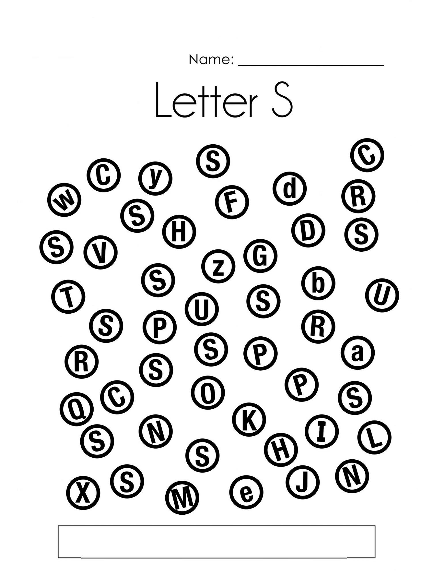 Find Letter S Worksheets