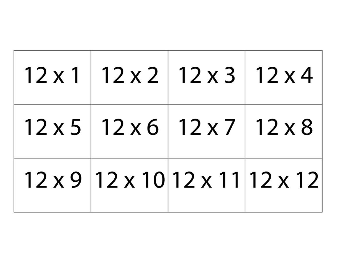 Printable 11 And 12 Times Tables