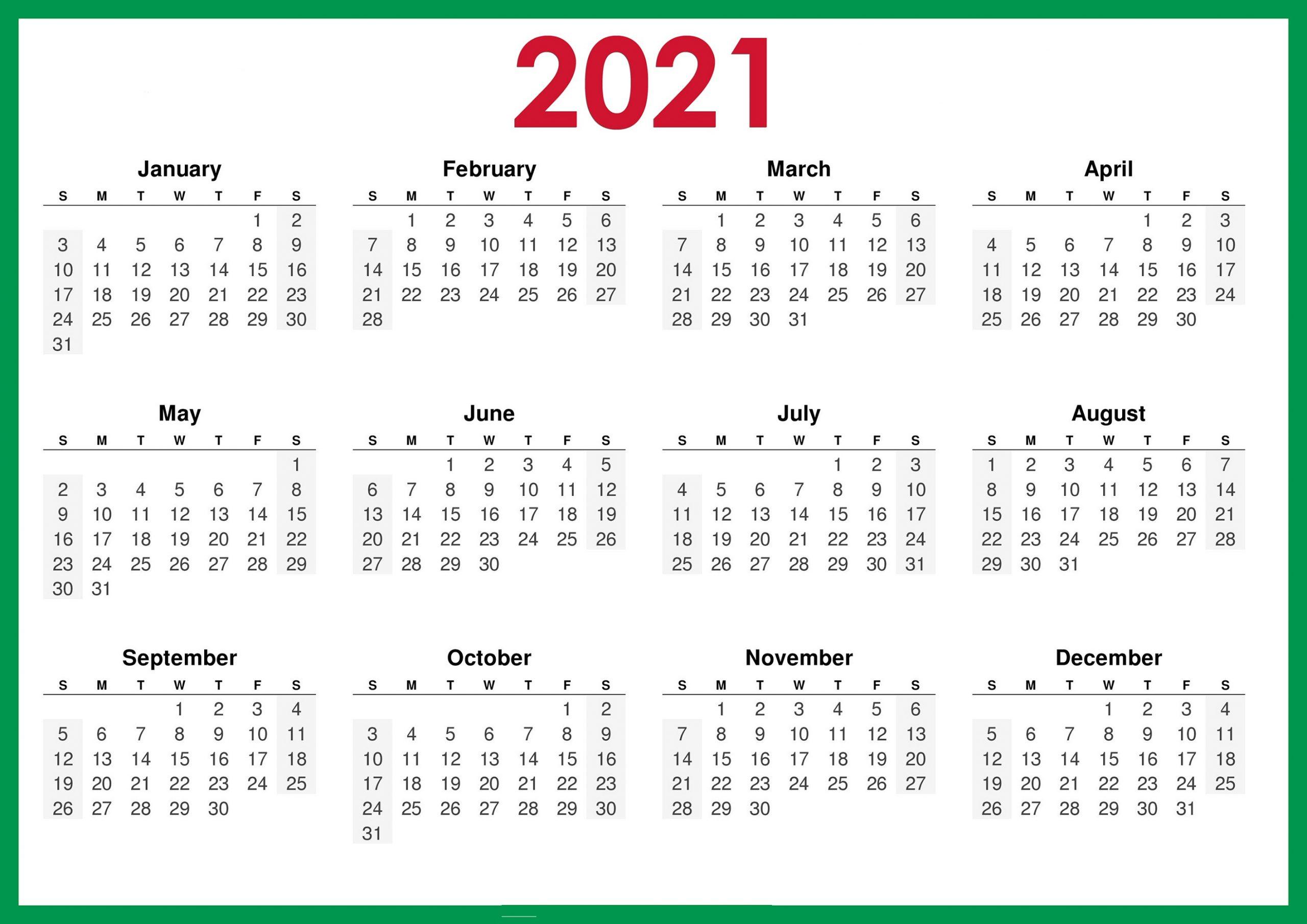Simple 2021 Calendar Printable