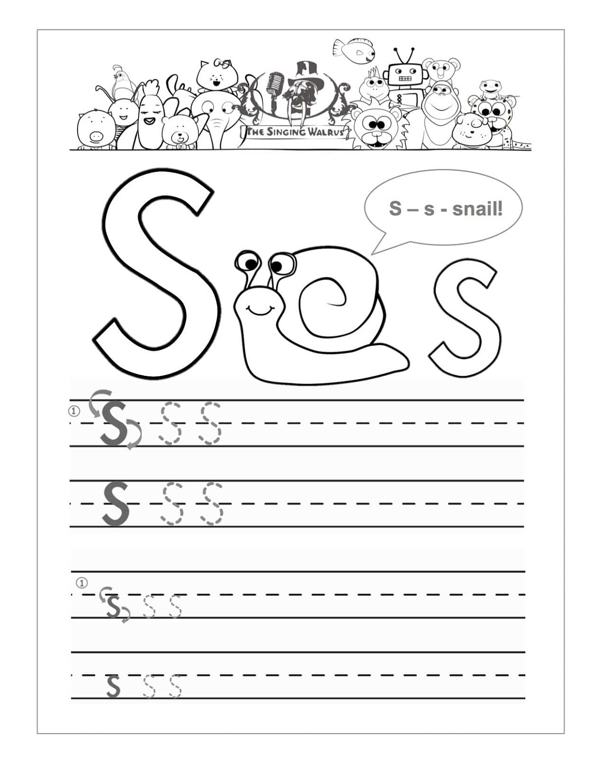 Writing Letter S Worksheets