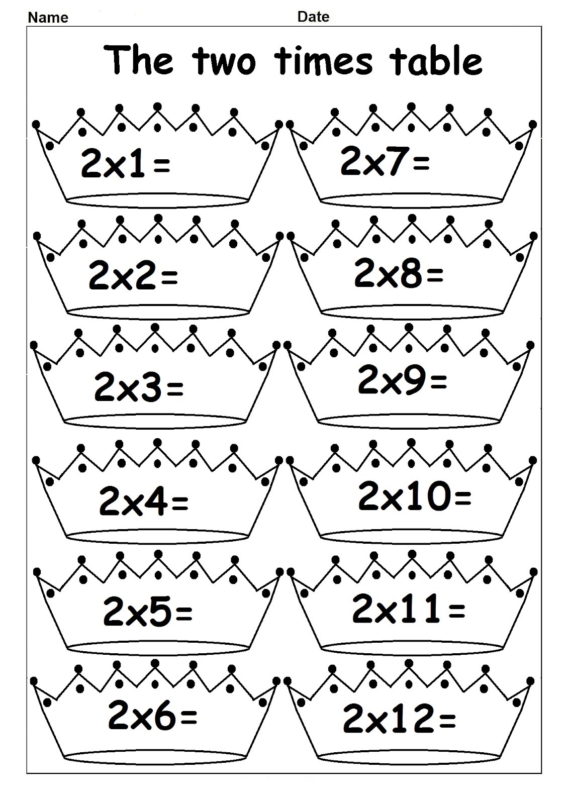2 times table worksheets for kids