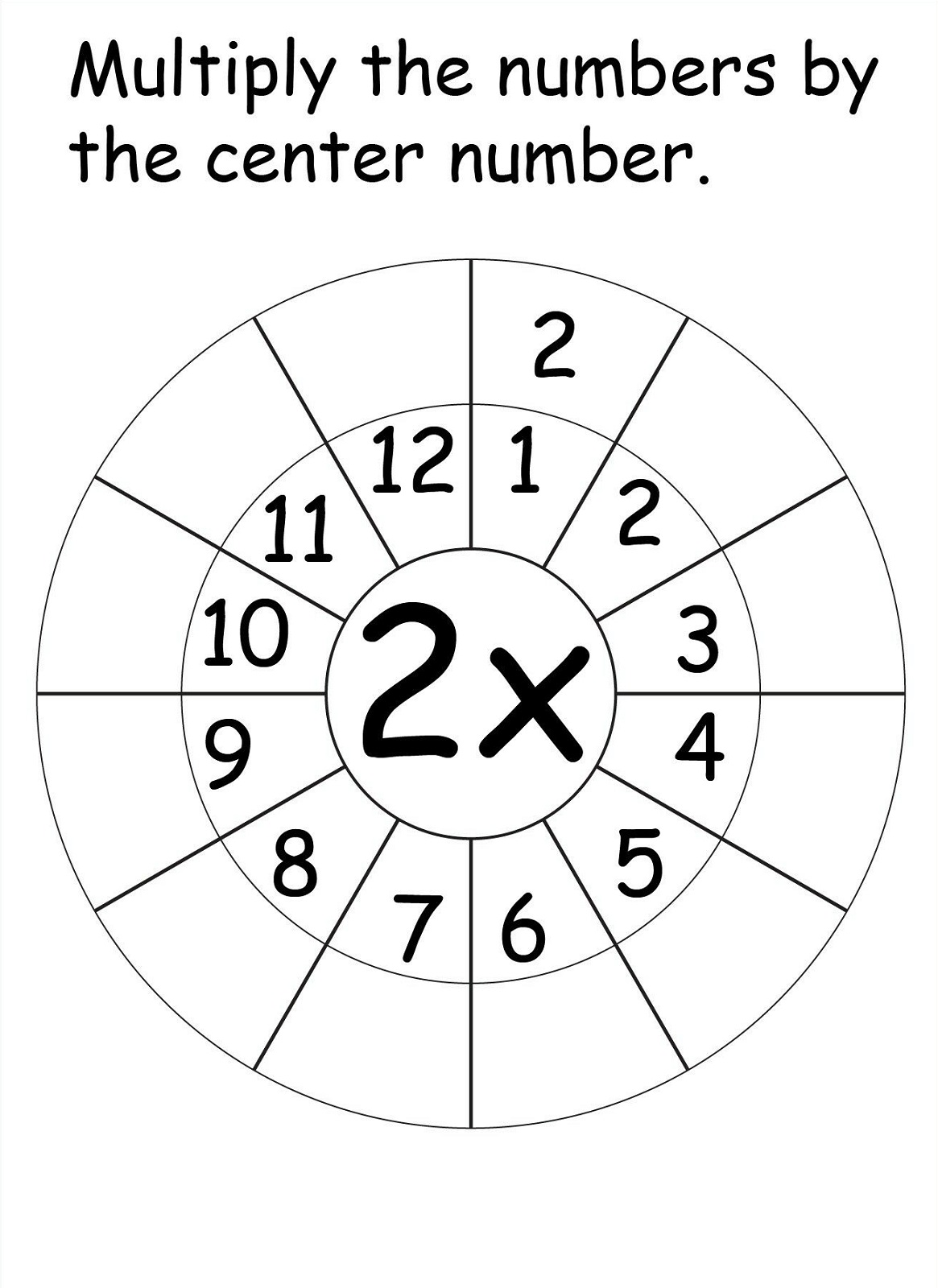 Free Printable 2 times table worksheets