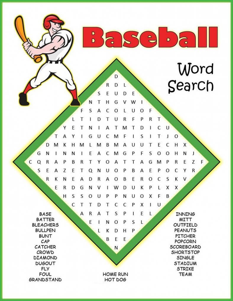 baseball word searches activity