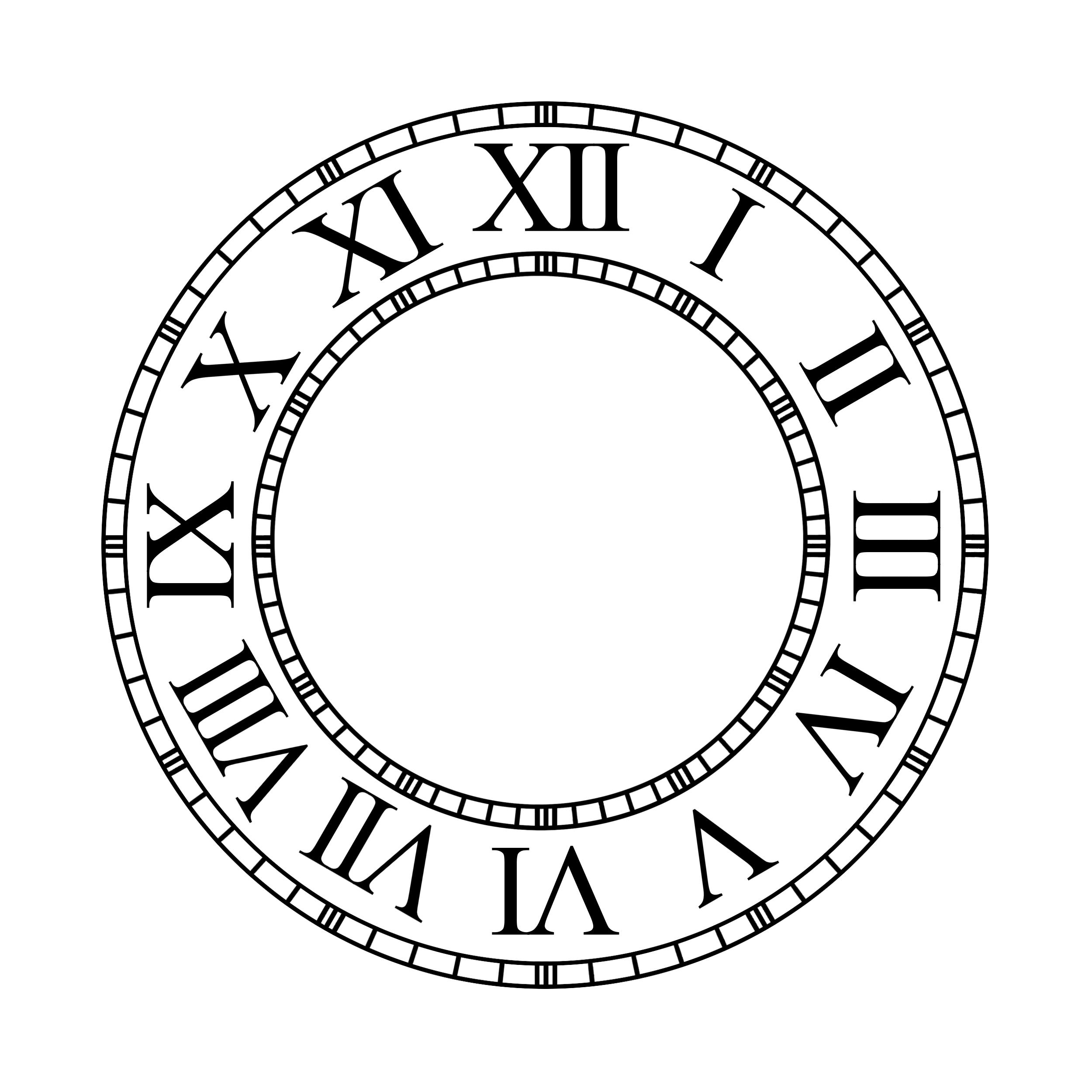 blank clock face template roman numerals