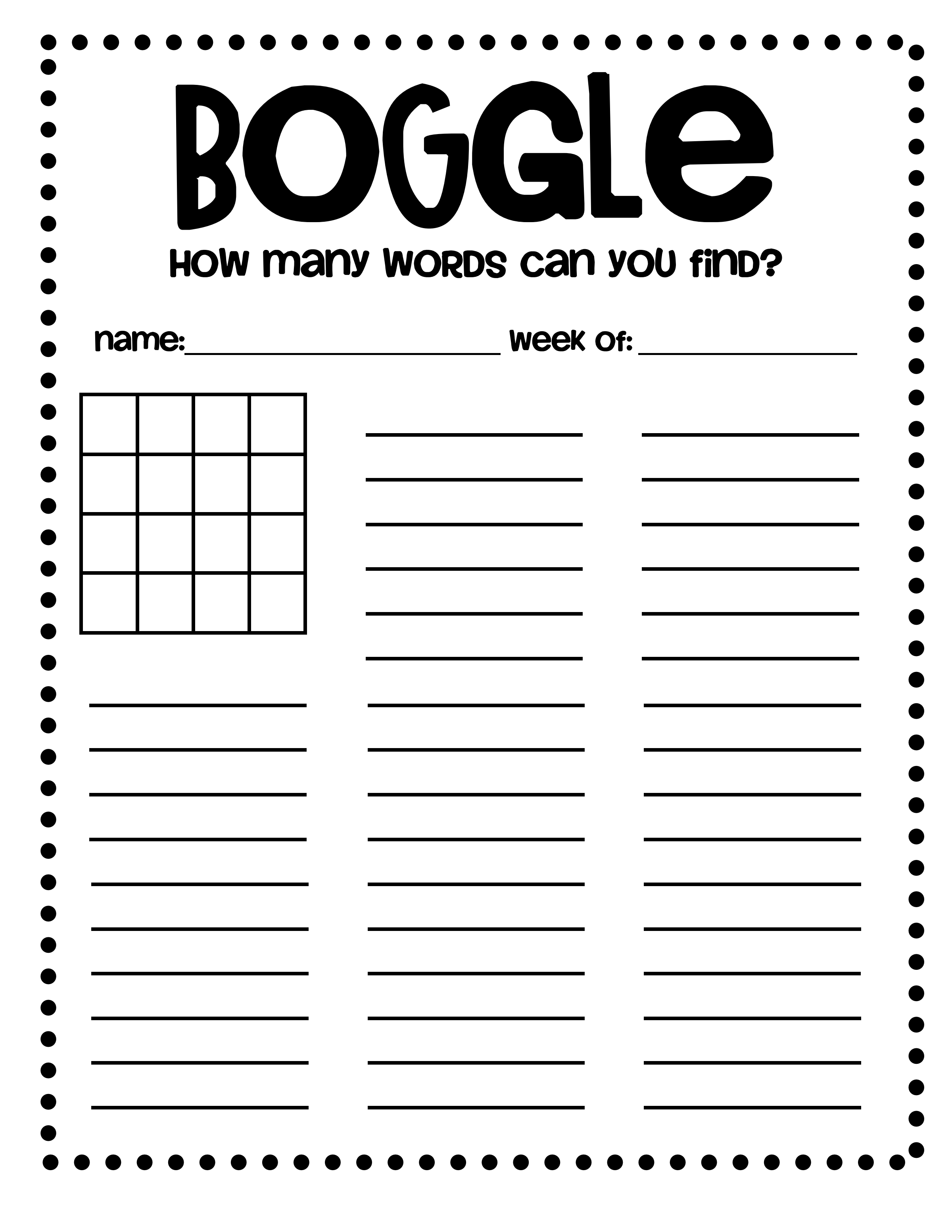 boggle word games template