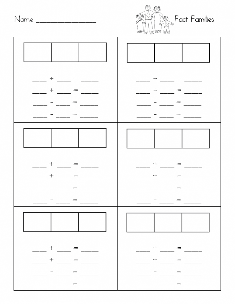 first grade blank fact family worksheets