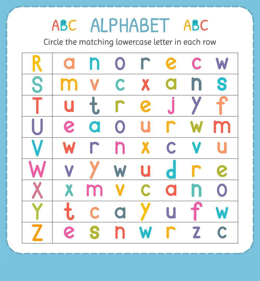 kids  lowercase letters worksheet