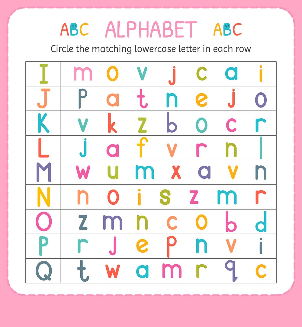 match lowercase letters worksheet