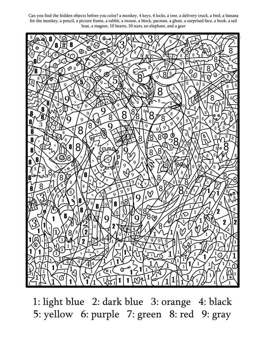 printable hard color by number worksheets