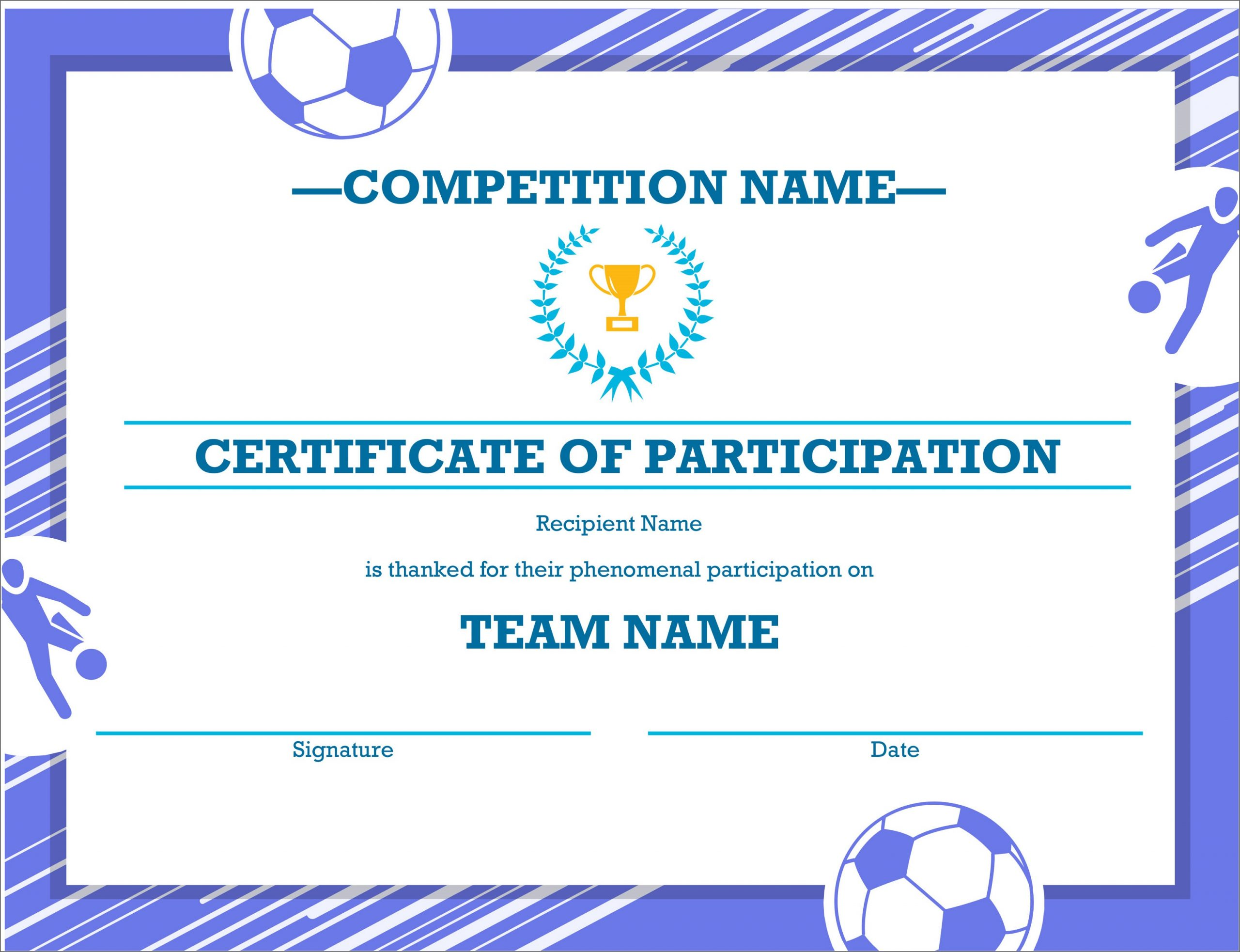 creative soccer certificate templates