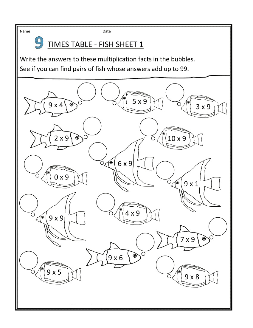 free 9 times table worksheets