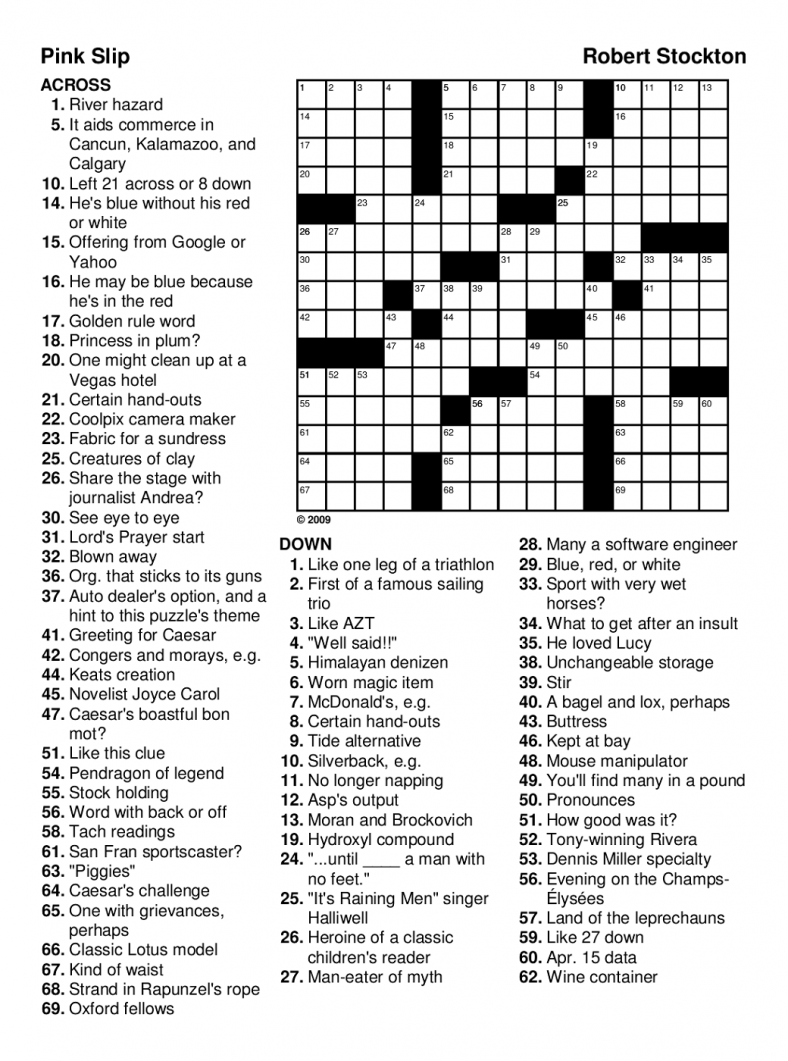 fun easy crossword puzzles for seniors