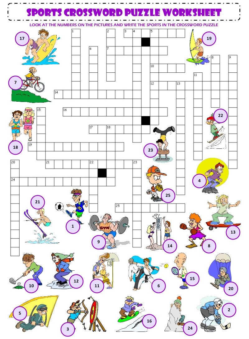 fun sports crossword puzzles for kids