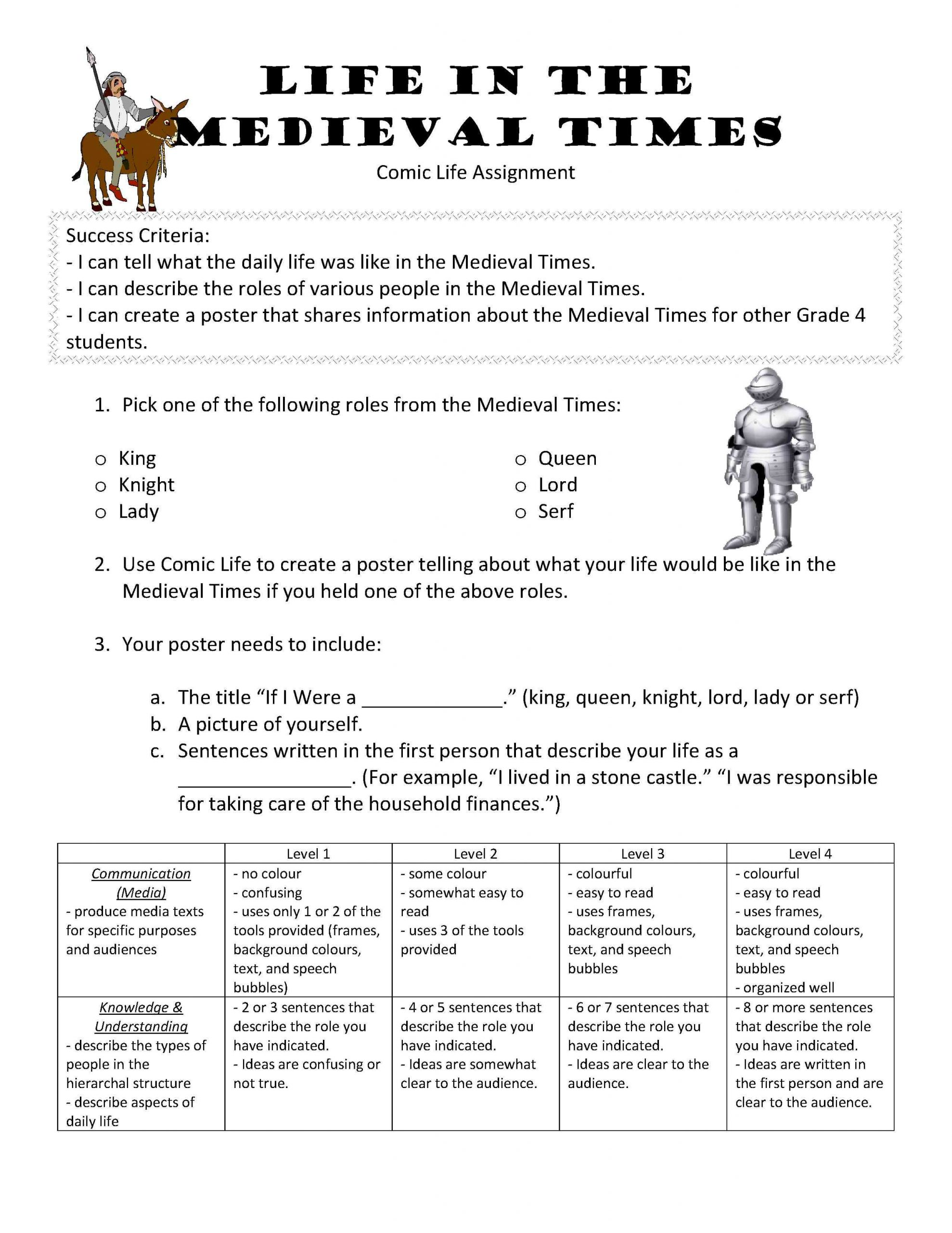 medieval times activities for kids study